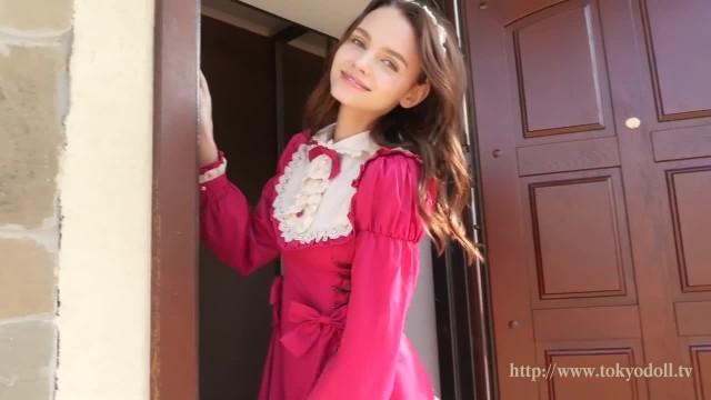 Brunette Cutie Teasing in Vintage Dress