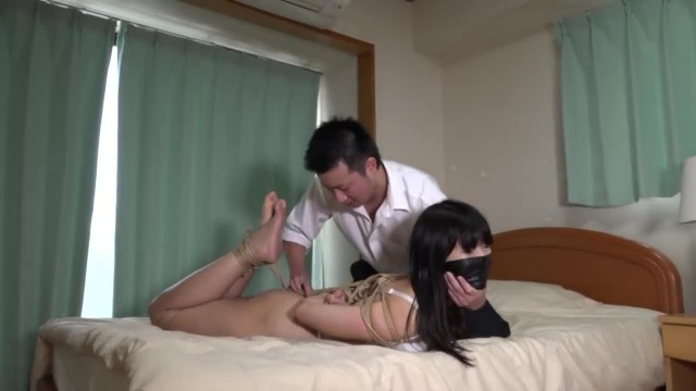 Naughty Asian Teen Tied Up and Left On the Bed