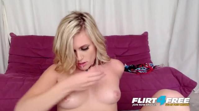 Sasha Heart on Flirt4Free Hot Blonde Babe Squirts with Dildo and Hitachi