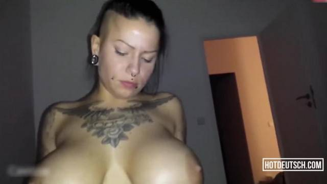 German Inked Girl Rides Cock and Gets Cum All Over Her Big Tits