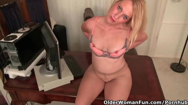 American MILF Shelby is Stripping off at the Office