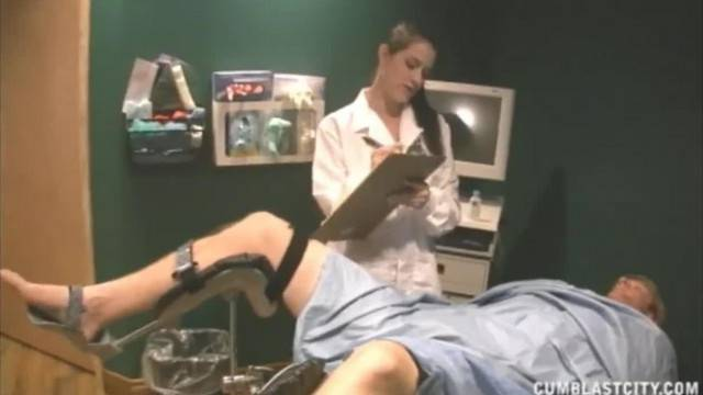 Busty Nurse collects semen from patient