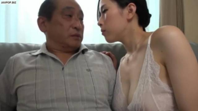 Slutty asian babe seduces and fucks grandpa